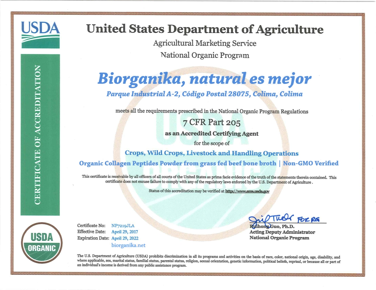 biorganika collagen usda certification